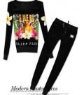 フィリッププレイン 2015 春夏 魅力ファッション プリント 長袖 レディース ベロア ジャージセット 3色可選