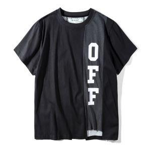 高いデザインのOff-WhiteオフホワイトTシャツコピーのメンズのブラックのクルーネック半袖Tシャツ激安偽物